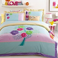 Flower Tree Embroided Cotton Bedding Set Queen King Size pink color