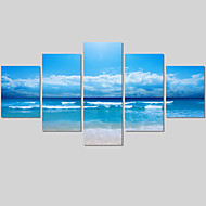 5Panel Modern Seascape Painting Canvas Art HD Sea Wave Landscape Wall Picture For Living Room Unframed Wedding