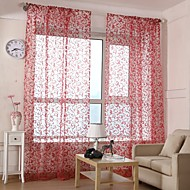 Two Panels Living Room Polyester Sheer Curtains Shades