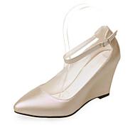 Calçados Femininos-Saltos-Anabela-Anabela-Rosa / Vermelho / Branco / Amêndoa-Courino-Casamento / Casual / Festas & Noite