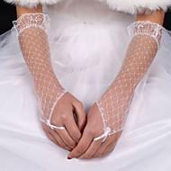 Albuelængde Handske Fingerløse Brudehandsker Silke / Elastisk satin