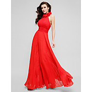 TS Couture Prom Formal Evening Family Gathering Dress - Open Back Celebrity Style A-line High Neck Floor-length Chiffon withDraping