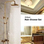 עתיק מותקן על הקיר מקלחת גשם / שפורפרת יד כלולה with  שסתום קרמי שני חורי ידית אחת for  פליז עתיק , ברז למקלחת