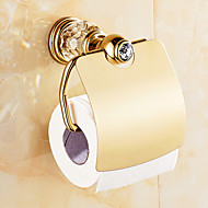Crystal and Gold Color Toilet Paper Holder , Neoclassical Antique Copper Wall Mounted