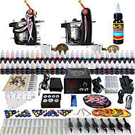 Solong Tattoo Complete Tattoo Kit 2 Pro Machine Guns 54 Inks Power Supply Foot Pedal Needles Grips Tips TK227