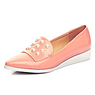 Women's Shoes Cowhide Low Heel Pointed Toe Flats Casual Black / Pink / Almond