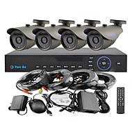 yanse® 4ch 960H 1000tvl CCTV DVR комплект ИК цвет водонепроницаемая системы камеры безопасности 3.6mm (66ft кабель) f278cf04