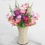 Silk / Plastic Camellia / Daisies Artificial Flowers with Vase