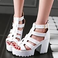 נעלי נשים - סנדלים - דמוי עור - עקבים / פלטפורמה - שחור / לבן - שמלה / קז'ואל - עקב עבה