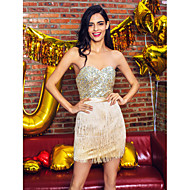 TS Couture Cocktail Party Prom Dress - Celebrity Style Sheath / Column Sweetheart Short / Mini Satin Sequined withBeading Sash / Ribbon
