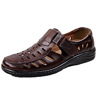 גברים נעליים עור קיץ נוחות עקב שטוח עם עבור קזו'אל חום