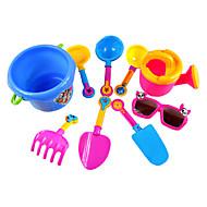 9-stykker strand sand legetøj sæt med spand, vand pot, glas legetøj og 6 håndværktøj