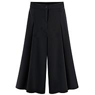 Mulheres Calças Plus Sizes / Casual Perna larga Poliéster Sem Elasticidade Mulheres