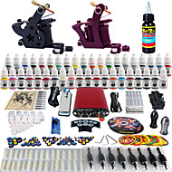 Solong Tattoo Complete Tattoo Kit 2 Pro Machines 40 Inks Power Supply Foot Pedal Needles Grips Tips TK257