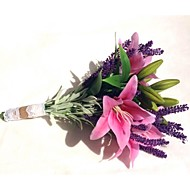 Brudebuketter Friform Liljer / Lavendel Buketter Bryllup / Fest & Aften Multi-Farve Polyester / Satin 10.24 tommer (ca. 26cm)
