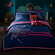 Embroided Cotton 4pcs Bedding Set Queen King Size Navy Color