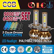 liancheng® 60W 6400lm 9 cob ~ 32v alto brilho levou farol kit-H4 / 9003 / hb2 para o carro, off-road, utv, atv