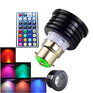 4W B22 תאורת ספוט לד MR16 1 לד בכוח גבוה 300 lm RGB עמעום / עובד עם שלט רחוק / דקורטיבי AC 100-240 V חלק 1