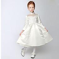 A-line Tea-length Flower Girl Dress - Satin Long Sleeve