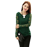 Women's Casual/Daily Sexy Summer T-shirt,Solid Round Neck Long Sleeve Red / Beige / Black / Green Cotton / Polyester Thin