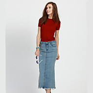 Women's Solid Blue Cotton Skirt , Casual / Day