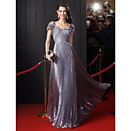 TS Couture® Formal Evening Dress-Silver A-line Off-the-shoulder Floor-length Organza