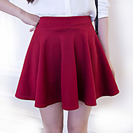 Women's Solid High Waist Blue / Red / White / Black Pleated Tutu Skirts , Casual / Day / Simple Mini