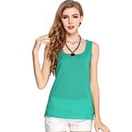 Women's Solid White / Black / Green / Orange / Yellow / Purple Vest , Round Neck Sleeveless