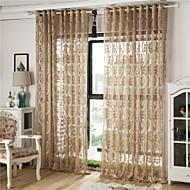 Dva panely Evropský S proužky / Květiny / Geometrické tvary / Křivka Kávová Obývací pokoj Polyester Sheer Záclony Shades