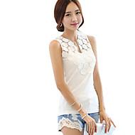 Women's Solid / Color Block White / Black Vest , V Neck Sleeveless