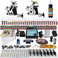 solong tatovering komplett tatovering kit 2 pro maskiner 54 blekk strømforsyning fot pedal nåler grep tips tk258