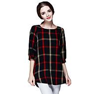 Mulheres Camiseta Casual Vintage / SimplesColor Block Vermelho Poliéster Decote Redondo Meia Manga Média