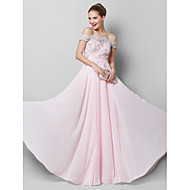 TS Couture® Formal Evening Dress - Blushing Pink A-line Off-the-shoulder Floor-length Chiffon