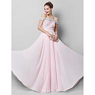 저녁 정장파티 드레스 - 블러슁 핑크 A-라인 바닥 길이 오프 더 숄더 쉬폰