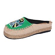 Handmade Women's Shoes Twill Flat Heel Comfort / Espadrilles / Round Toe Flats / Loafers Casual Blue / Green / Red