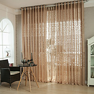 Two Panels Modern Coffee Living Room Polyester Sheer Curtains Shades
