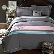 Gray Color Embroied Bedcover 100% Cotton Bedding Sets