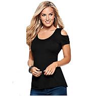 Tee-shirt Aux femmes Couleur Pleine Manches Courtes Col Arrondi Polyester