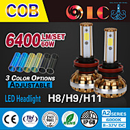 Liancheng®  60W 6400Lm 9~32V High Brightness COB LED Headlight Kit-H8/H9/H11 for Car,Off-road,UTV,ATV