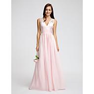 Lanting Bride® Boden-Länge Chiffon Brautjungfernkleid A-Linie V-Ausschnitt mit Spitze / Schärpe / Band / Horizontal gerüscht