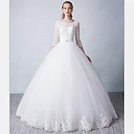 Ball Gown Wedding Dress - Ivory Floor-length Scoop Tulle