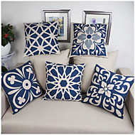 Cotton Linen Pillow Case Blue and white porcelain Retro Home Decorative Blended Crown Throw Comfortable Back