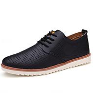 Masculino-Tênis-Buraco Shoes-Rasteiro-Preto Bege Amarelo Azul-Couro-Escritório & Trabalho Casual Festas & Noite
