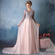 Formal Evening Dress Trumpet / Mermaid V-neck Chapel Train Lace / Satin Chiffon with Lace / Sash / Ribbon / Sequins