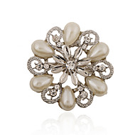 Silver Plated/Imitation Pearl/Rhinestone Brooch/Fashion Water Droplets Flower Brooch/Party/Daily 1pc
