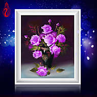 DIY 5D Diamonds Embroidery Purple Rose Vase Magic Cube Round Painting Cross Stitch Kits Diamond Mosaic Home Decoration