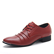 Men's Spring / Summer / Fall / Winter Comfort Leather Casual Flat Heel Lace-up Black / Blue / Red