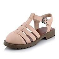 נעלי נשים-קבקבים וכפכפי עקב-דמוי עור-רצועה אחורית / סגור-שחור / ורוד / לבן-שמלה / קז'ואל-עקב נמוך