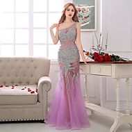 Formal Evening Dress Sheath / Column One Shoulder Floor-length Tulle with Beading / Crystal Detailing / Pearl Detailing / Sequins