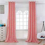 שני פנאלים גס פס אדום חדר שינה כותנה לוח וילונות וילונות